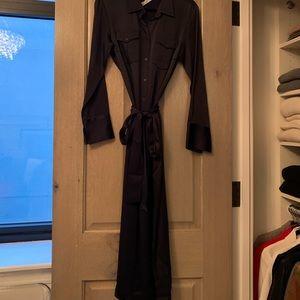 Zara Dresses - Chic navy blue silk like shirtdress
